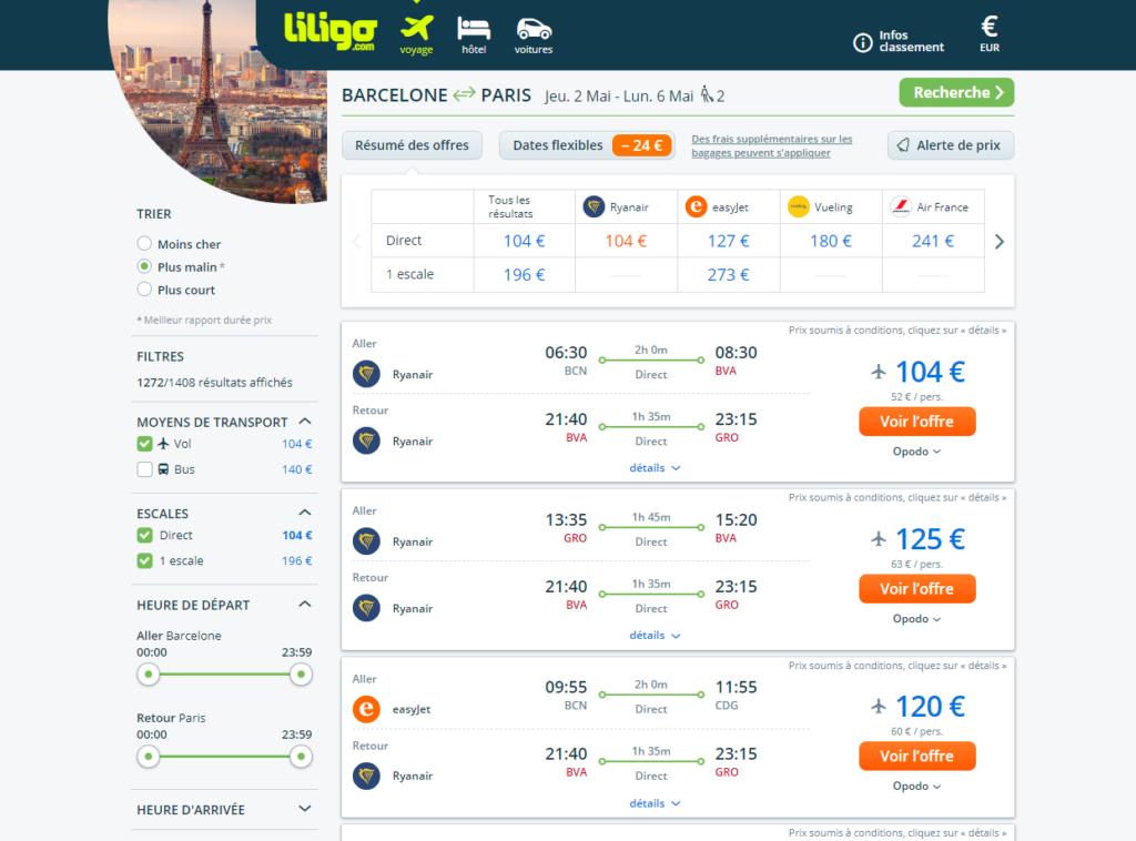 comparateur de vols Liligo