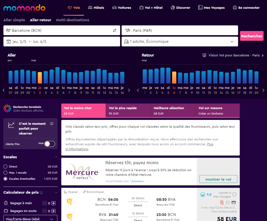 résultats de recherche Momondo.fr