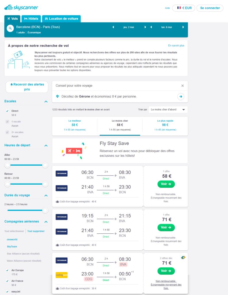 comparer les prix des billets d'avion avec Skyscanner